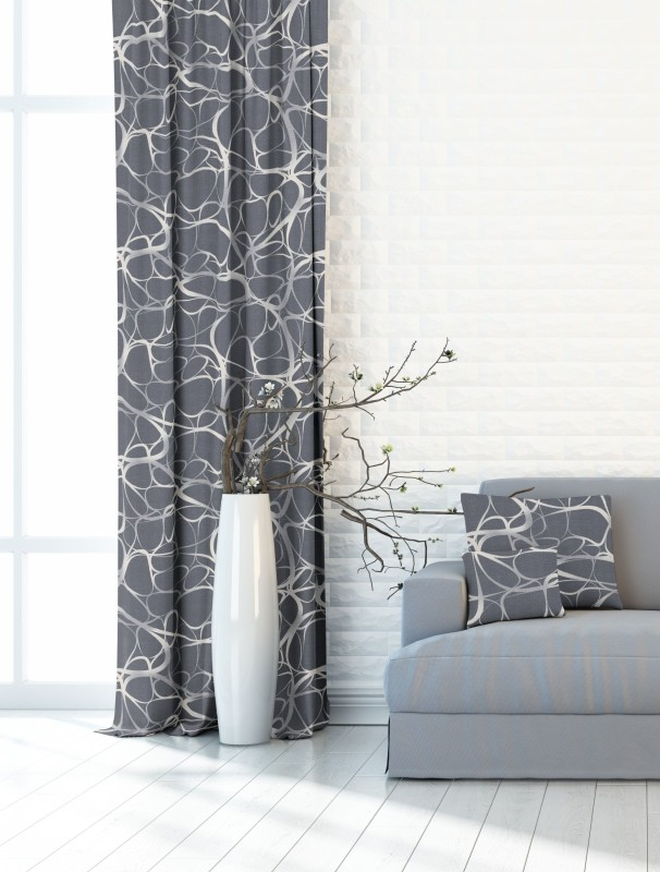 Ares šedý, dekorační závěs