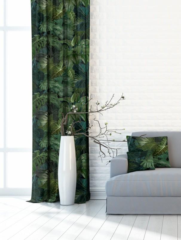 Listy exotic, zelená, zatemňovací závěs