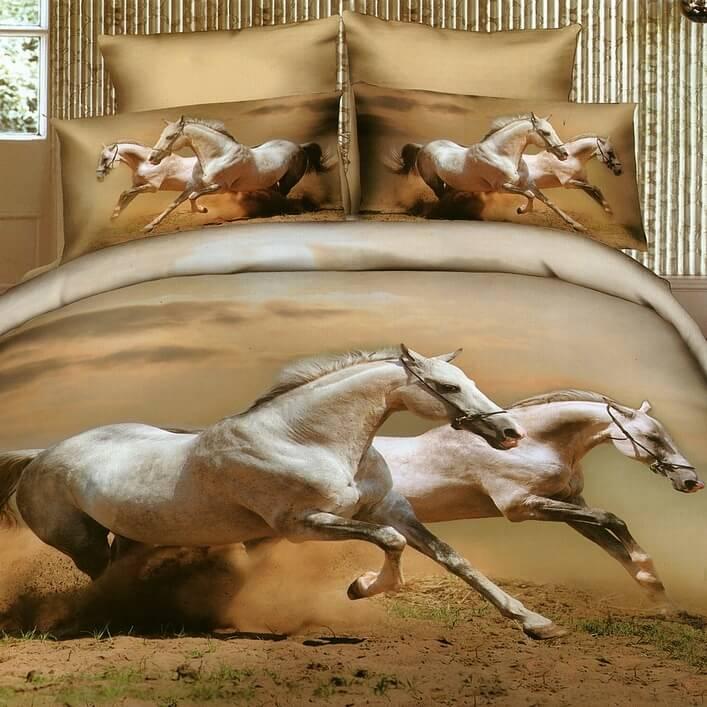 Arabské koně, povlečení saténové s 3D efektem
