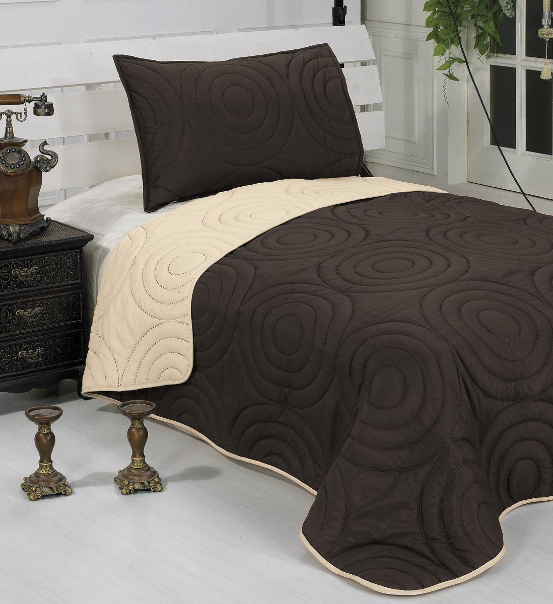Betti čokoládová + béžová, přehoz na postel