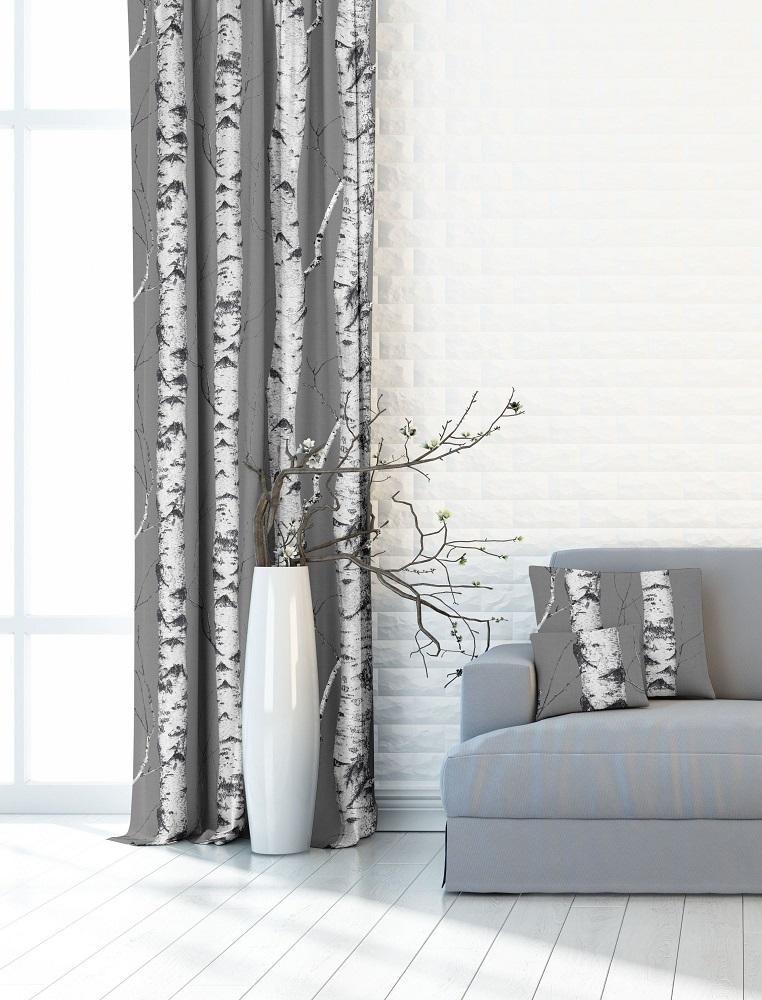 Břízy na šedé, dekorační závěsovina