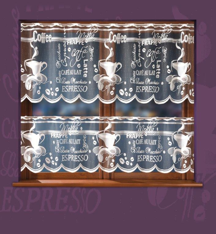Kafe, vitrážová záclona