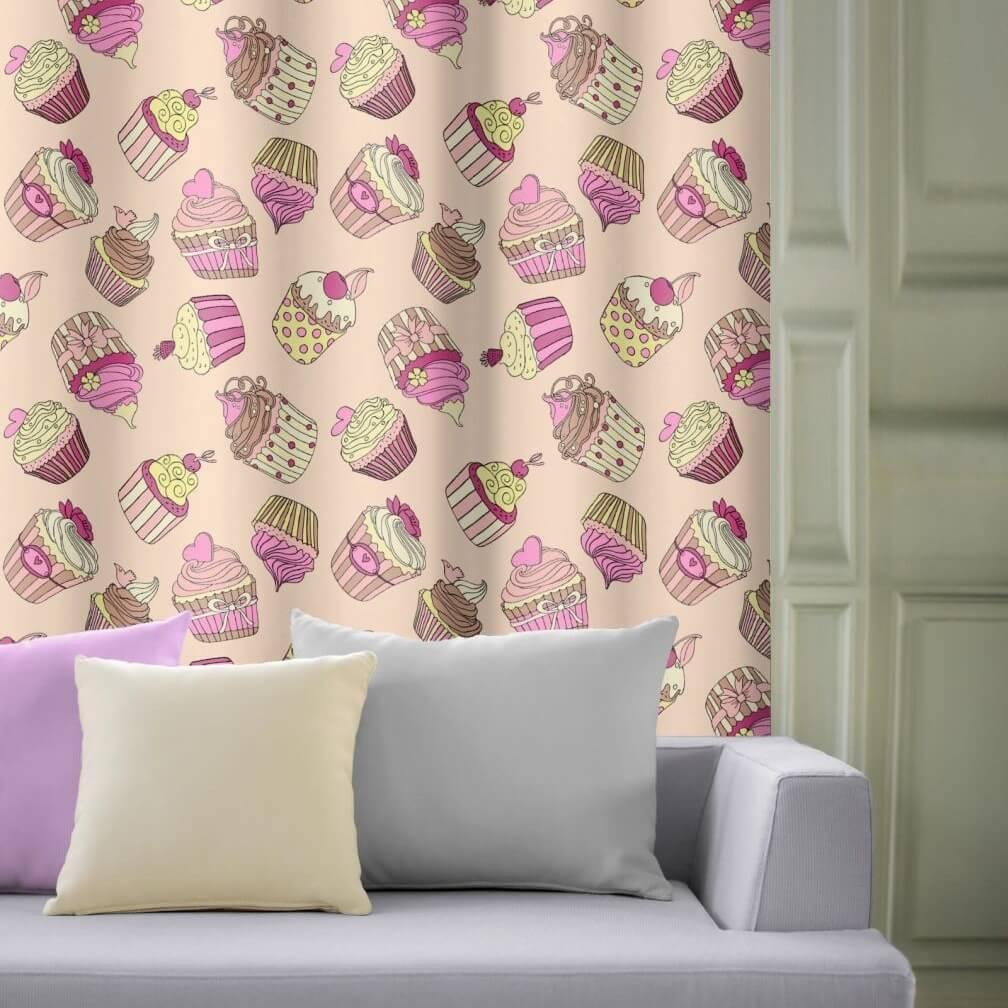 Cupcake šeříkovožlutý na růžovém