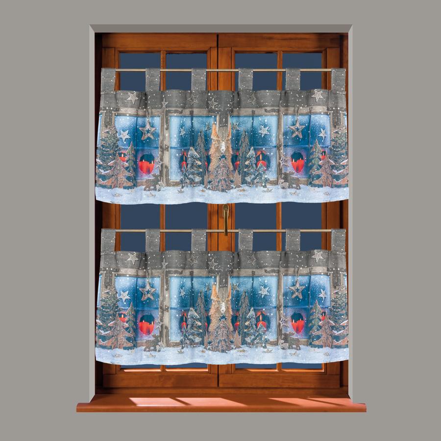 Eve vánoční, kusová vitrážová záclona
