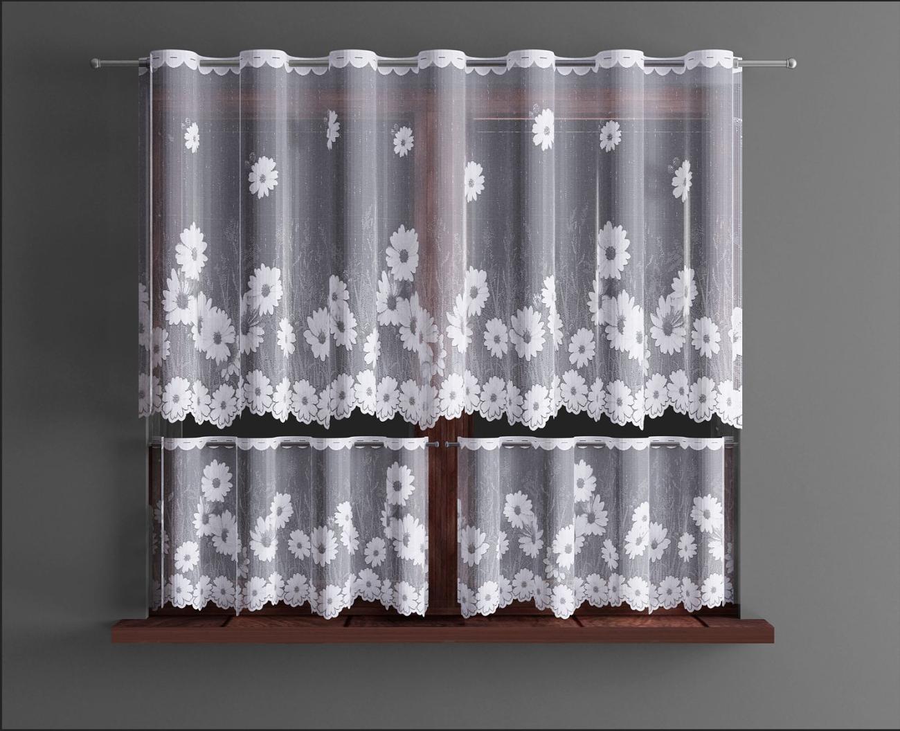 Gerbera, vitrážová záclona