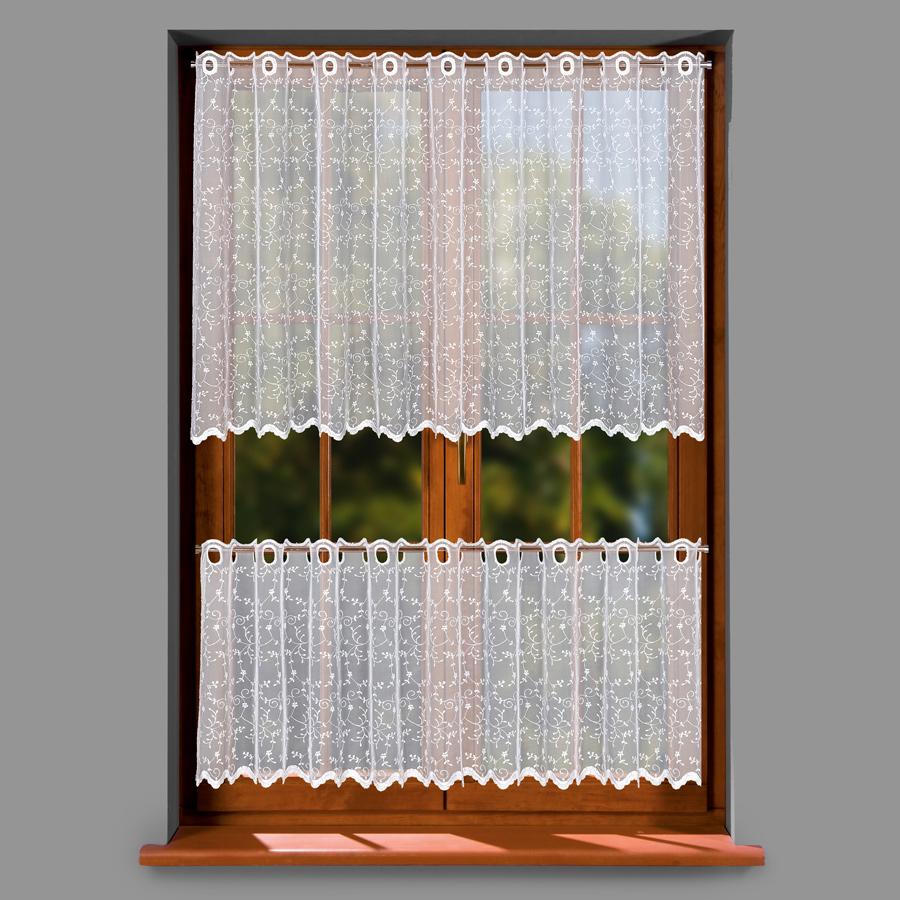 Kamelie, krátká vyšívaná záclona