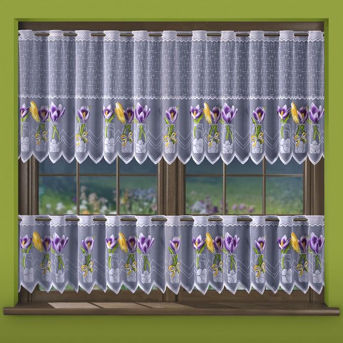 Krokusy, krátká malovaná záclona