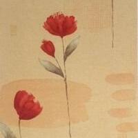 Len-růže lehký závěs