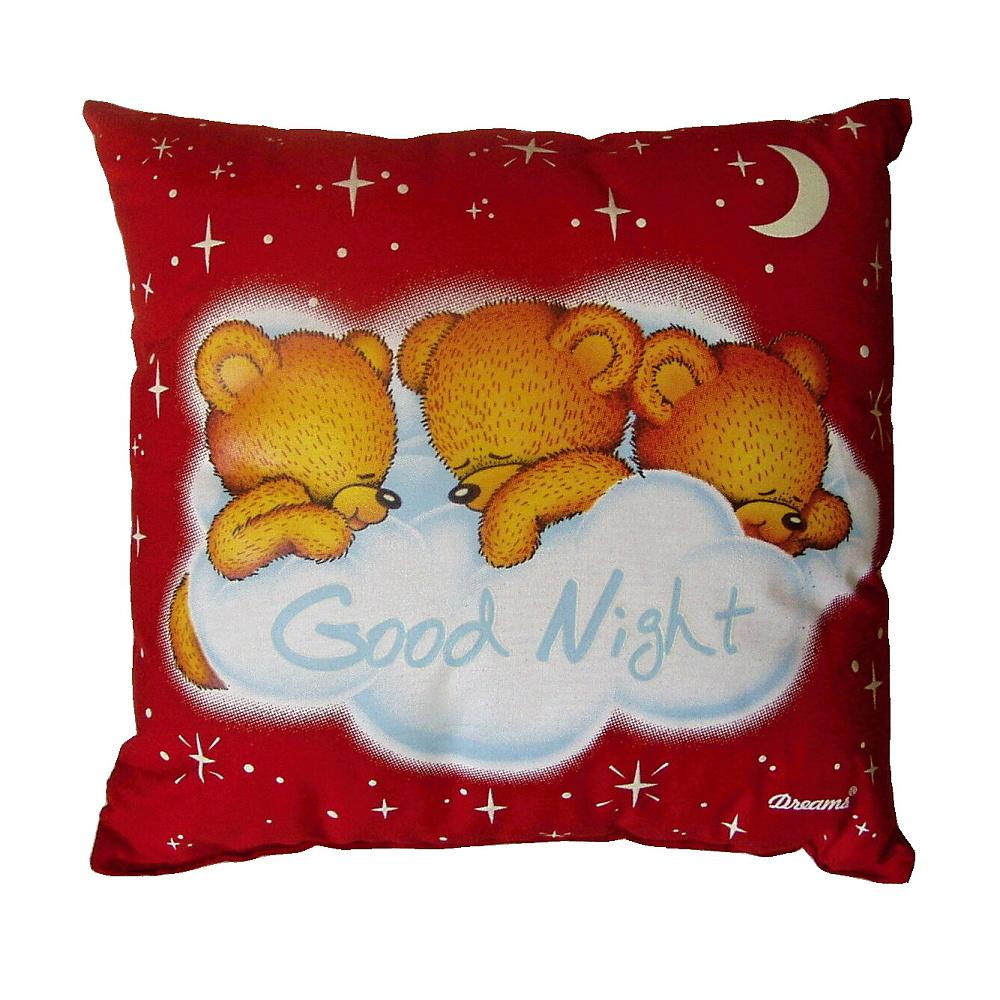 Medvídci Good night, červený polštářek.