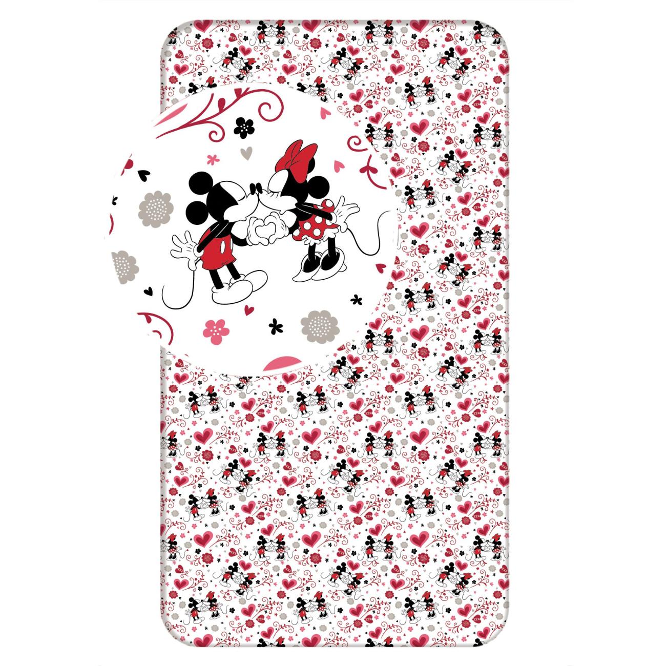 Prostěradlo bavlna, Minnie hearts 2016, jednolůžko 90x200cm*