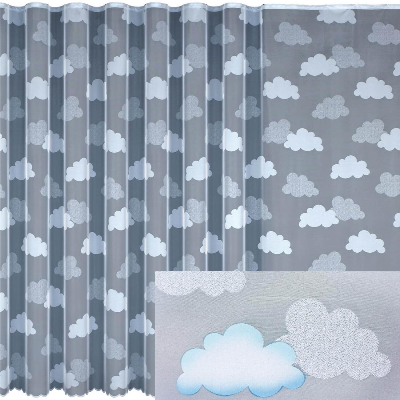 Mráčky modré, hotová malovaná záclona