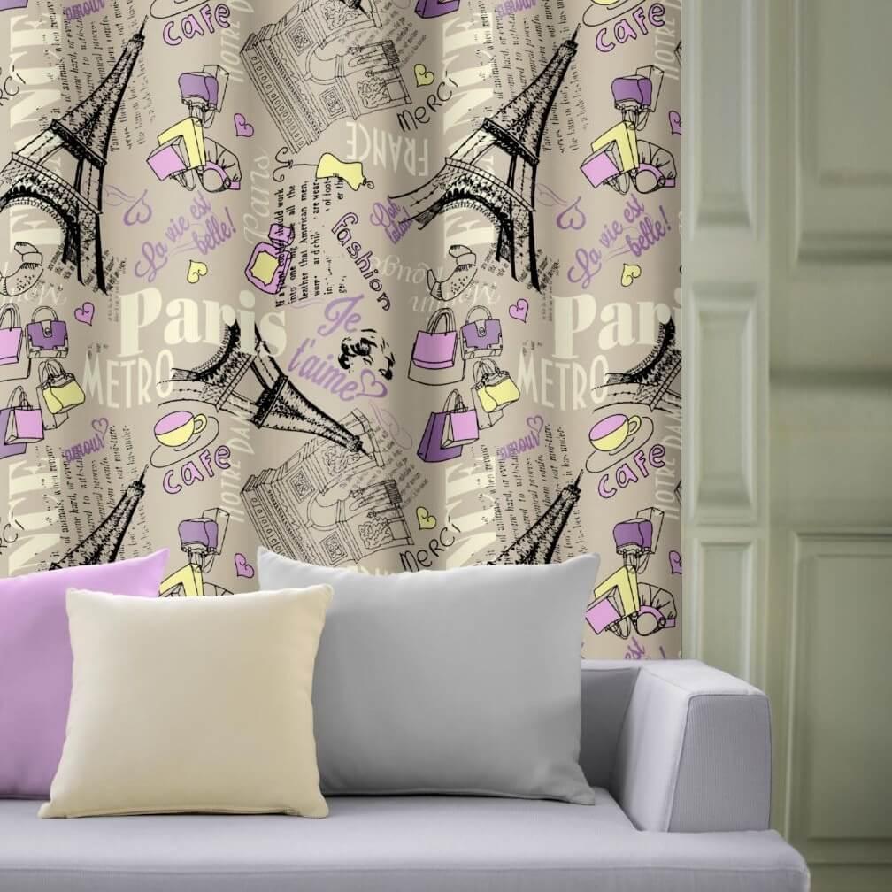 Paříž fashion šedá fialová