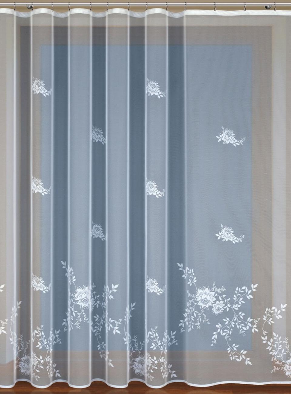 Peony, hotová bílá záclona