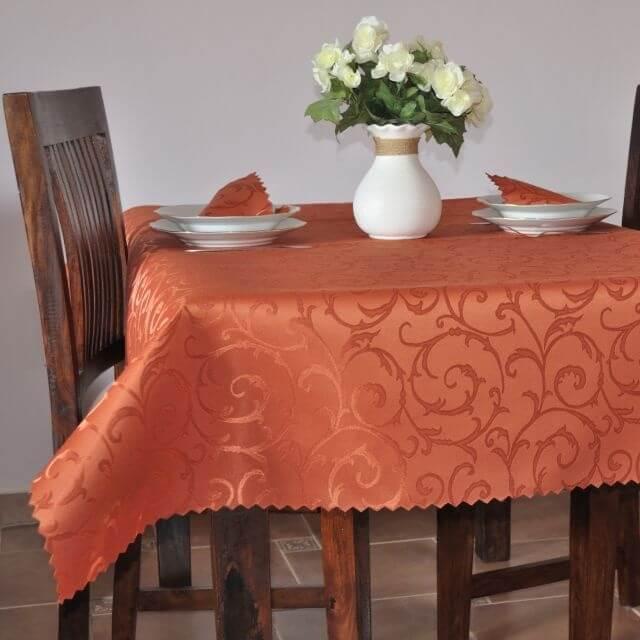 Oranžový ubrus s damaškovým vzorem, Imperial