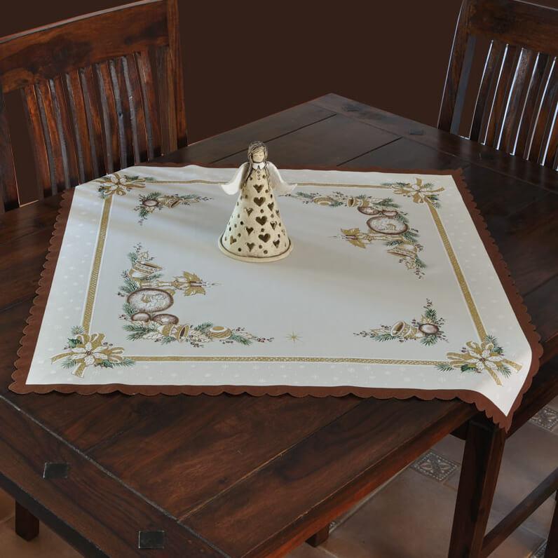 Vánoční ubrus, Baňka s andělíčkem s hnědým lemem