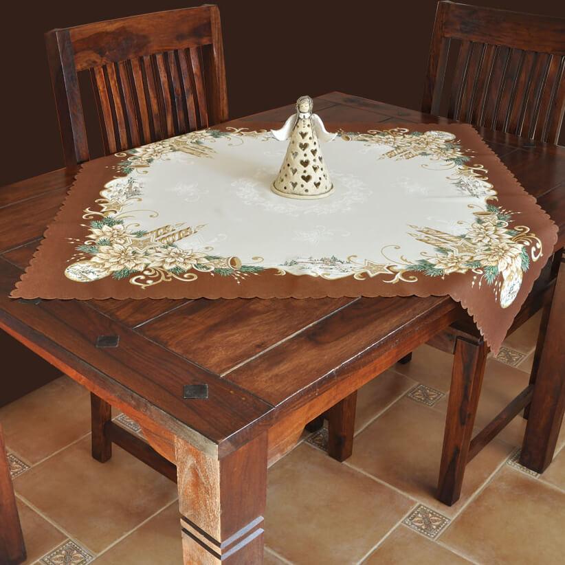 Vánoční ubrus, Svícen s krajinkou hnědý na krémovém