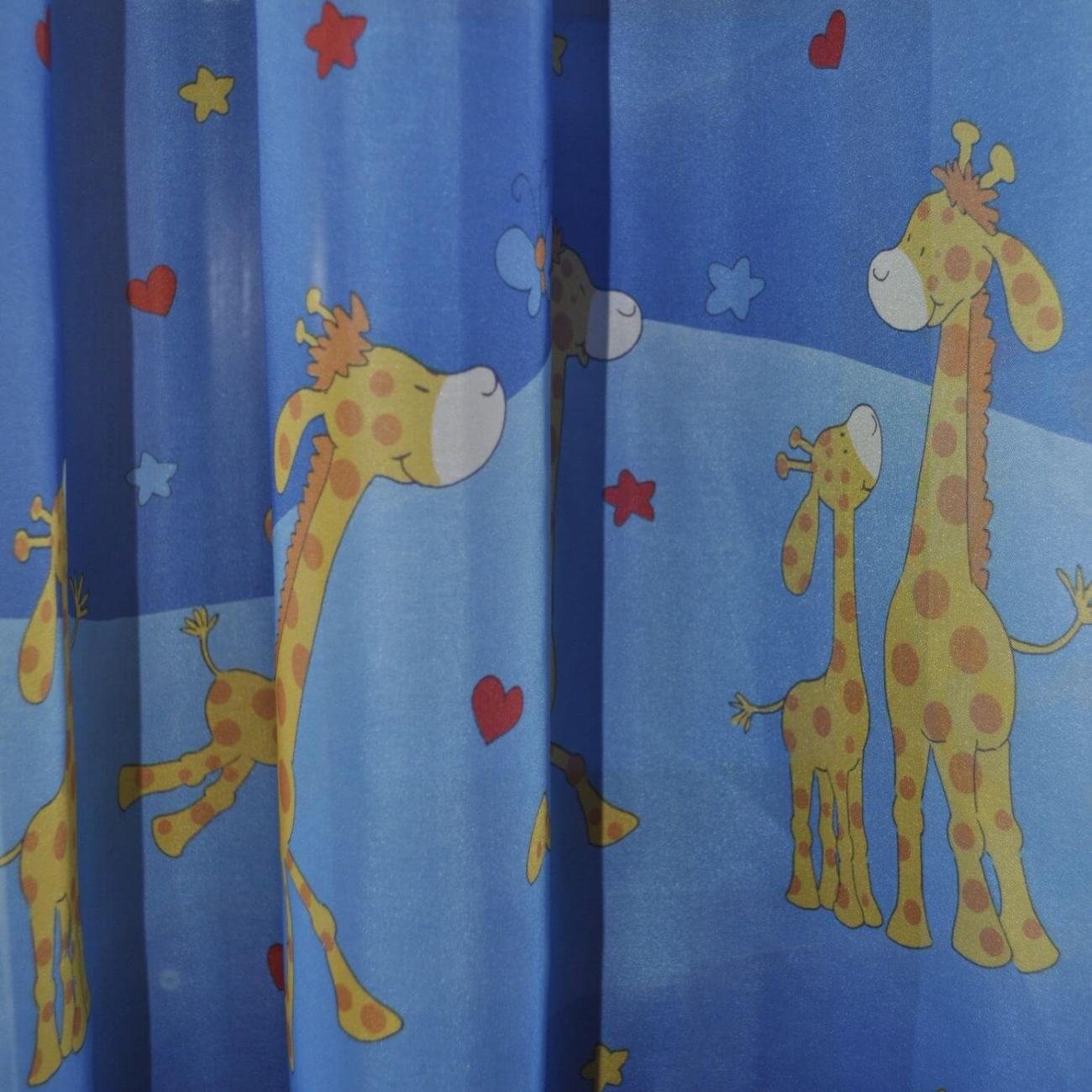 Veselé žirafy modré voál, šíře 150cm