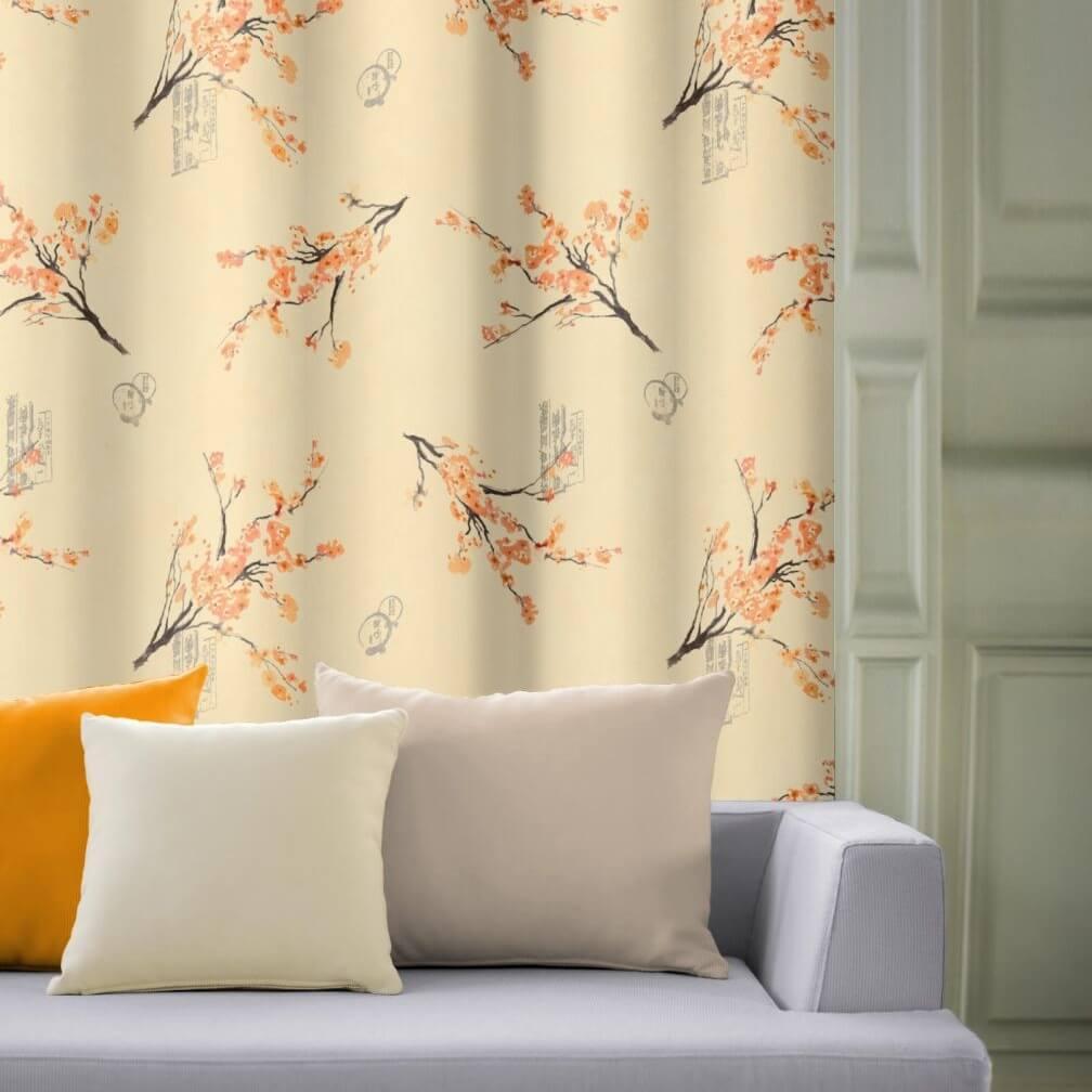 Větvička oranžový květ hotový závěs + 2 x povlak 40x40