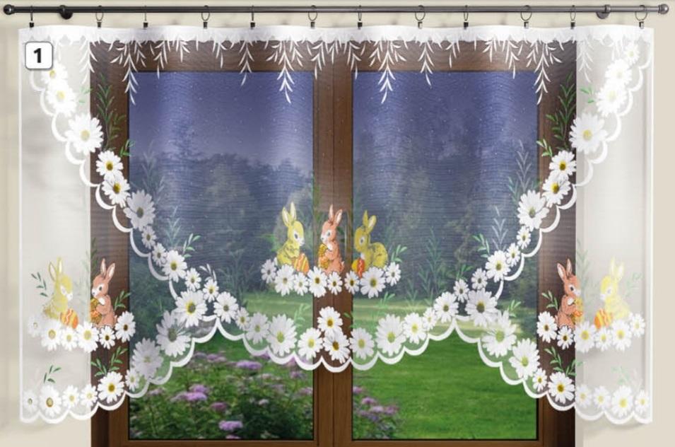Velikonoční kusová záclona Zajíc šíře 300 x výška 150cm
