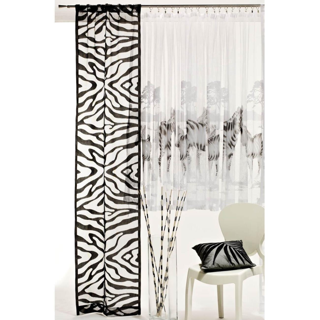 Zebry malovaná záclona
